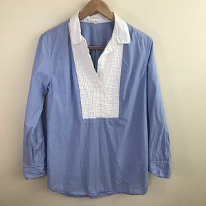 J. Crew Collared Pleated Popover Peasant Blouse